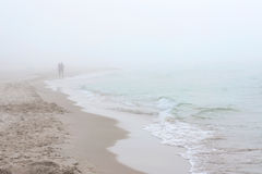Foggy weather by the sea. Baltic beach in Poland. Royalty Free Stock Image