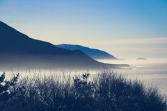 Foggy westcoast on highway number 1 in california, USA.  royalty free stock images