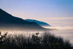 Foggy westcoast on highway number 1 in california, USA.  royalty free stock photography