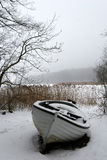 Foggy winter boat Royalty Free Stock Photos