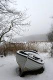 Foggy Winter Boat Royalty Free Stock Photos