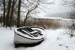 Foggy Winter Boat Stock Images