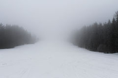 Foggy winter day in the mountains Royalty Free Stock Photography