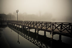 Foggy winter docks. In Italy, Bellaria Igea Marina Stock Photos