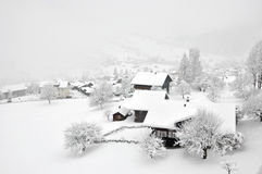 Foggy Winter In Swiss Village Royalty Free Stock Images