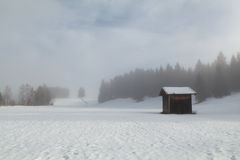 Foggy winter morning on Bavarian countryside Stock Photography