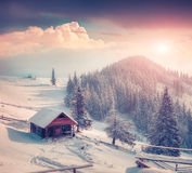 Foggy winter scene in the mountain farm. Royalty Free Stock Photo