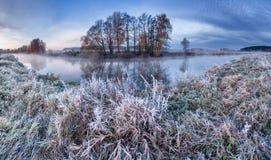 Winter smile. Frozen river Stock Photos