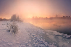 Ice and fire. Winter sunrise Royalty Free Stock Photos