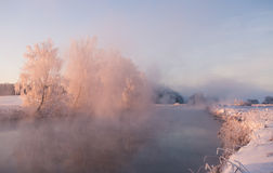 Foggy winter sunrise Stock Photos