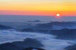 Foggy winter sunrise Royalty Free Stock Photo