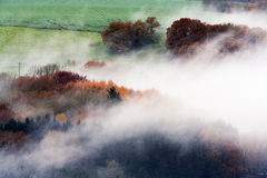 Foggy woods and fields Royalty Free Stock Photography