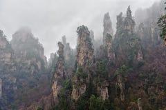 Foggy Zhangjiajie Stock Photo
