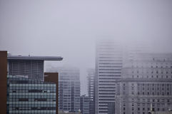 Foggy on zoomed city royalty free stock photography