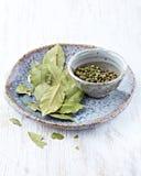 Fogli della baia e granelli di pepe verdi Immagine Stock