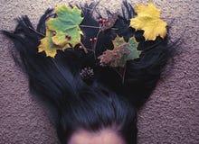 Fogli di autunno in capelli Immagine Stock Libera da Diritti