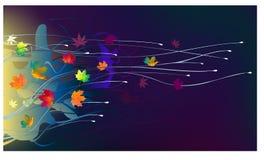 Fogli di autunno nel vento Fotografie Stock Libere da Diritti