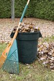 Fogli di autunno in una latta di immondizia - verticale Immagine Stock Libera da Diritti