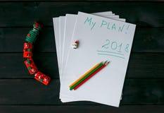 Fogli di carta con l'iscrizione 2018, il mio piano fotografia stock libera da diritti