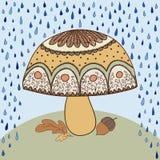 Fogli di colore giallo e del fungo Illustrazione Vettoriale
