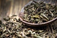Fogli di tè verde Immagini Stock Libere da Diritti