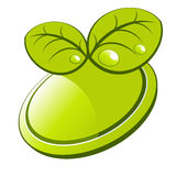 Fogli di verde sull'icona del tasto Fotografie Stock