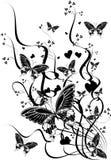 Fogli e farfalle Fotografia Stock