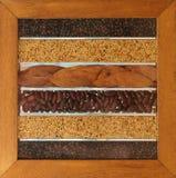 Fogli e semi dei fagioli orizzontali Fotografia Stock Libera da Diritti