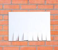 A fogli mobili di carta vuoti dell'annuncio Isolato su un backgr rosso del muro di mattoni Fotografia Stock