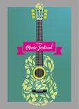 Foglia acustica della chitarra Fotografia Stock
