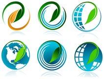 Foglia con il glob Immagini Stock Libere da Diritti