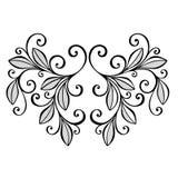 Foglia decorativa con l'ornamento Fotografia Stock