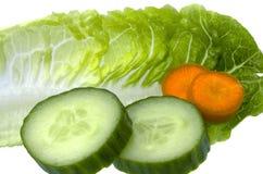 Foglia dell'insalata con il cetriolo e le carote Fotografia Stock Libera da Diritti