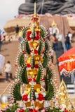 Foglia della banana nella decorazione tailandese del fiore di stile Immagine Stock