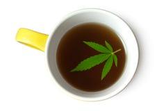 Foglia della canapa (cannabis) in tazza di tè immagini stock libere da diritti