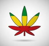 Foglia della cannabis con la bandiera di rasta Immagini Stock