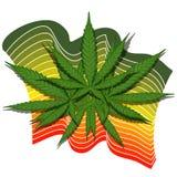 Foglia della cannabis con le bande Fotografie Stock