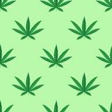 Foglia della cannabis della canapa nello stile dello zentangle Reticolo senza giunte Fotografia Stock