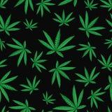 Foglia della cannabis della canapa nello stile dello zentangle Reticolo senza giunte Fotografie Stock