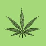 Foglia della marijuana con i modelli Immagini Stock