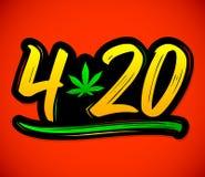 Foglia della marijuana di 4:20, progettazione di iscrizione di vettore di celebrazione della cannabis, il 20 aprile royalty illustrazione gratis