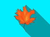 Foglia di acero arancio con un'ombra Immagine Stock Libera da Diritti