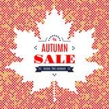 Foglia di acero del fondo di festival di caduta dell'insegna di vendita di autunno illustrazione di stock