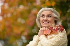 Foglia di autunno della tenuta della donna Fotografia Stock Libera da Diritti