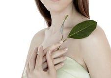 Foglia di modello di verde della tenuta della donna moderna di modo per la natura di salute di bellezza dei gioielli pulita fotografia stock libera da diritti
