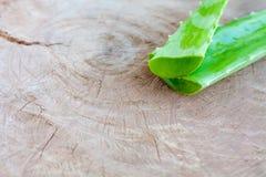 Foglia di vera dell'aloe su fondo di legno Fotografia Stock