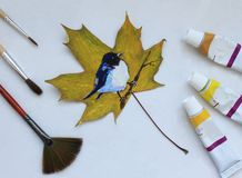 Foglia dipinta di autunno fotografia stock libera da diritti