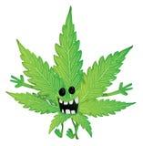 Foglia divertente della marijuana Fotografie Stock Libere da Diritti