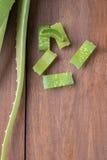 Foglia fresca di Aloevera su fondo di legno Immagini Stock Libere da Diritti