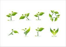 Foglia, la gente, logo di vettore di energia naturale Fotografia Stock